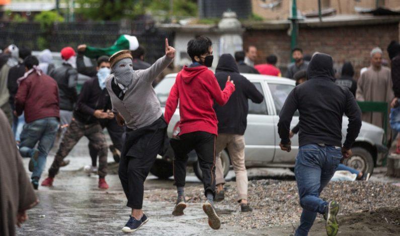 A scene of protest in down town Srinagar