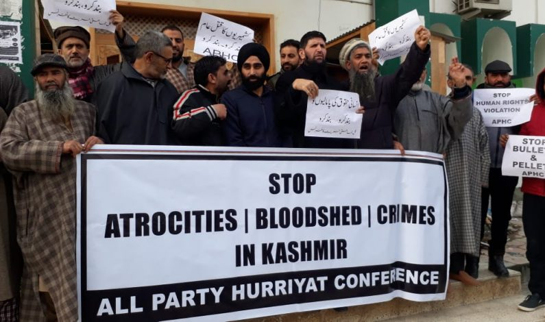 Hurriyat Conference (G) holds protest demonstration in Srinagar against 'human rights violations'