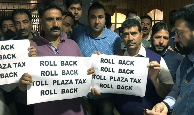Trader's, transporters protest levying of Toll tax, submit memorandum to DC Anantnag