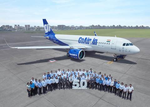 GoAir inducts 50th aircraft into the fleet