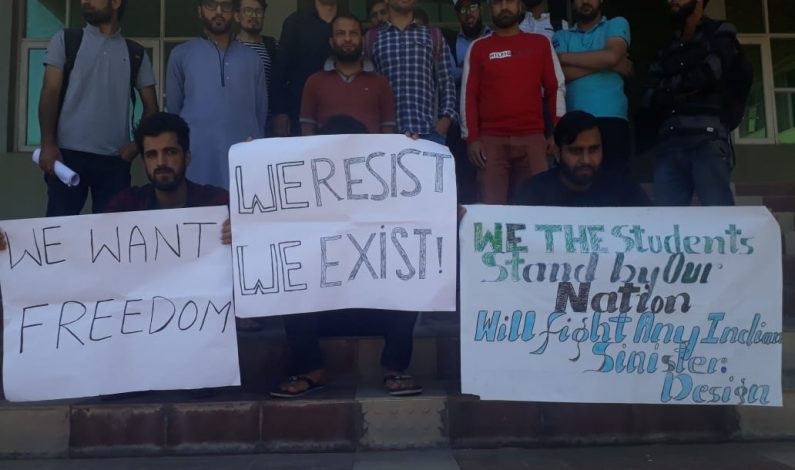 Students of Kashmir University protest against 'war hysteria'