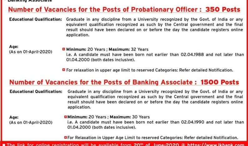 J&K Bank releases recruitment notification for PO, Banking Associates