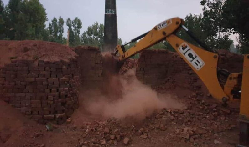 Brick kiln operating 'illegally' demolished in Beerwah area of Budgam