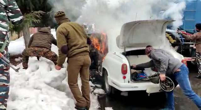 IG CRPF's Ambassador car damaged in blaze on Gupkar road