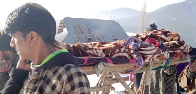 Fortnight after snowfall, locals ferry patient for 5kms on stretcher to hospital